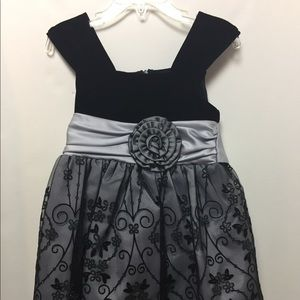 Black & Silver Girl's Holiday Dress